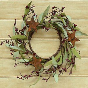 "Botanical Leaves and Burgundy Pips Rusty Star 8"" M"